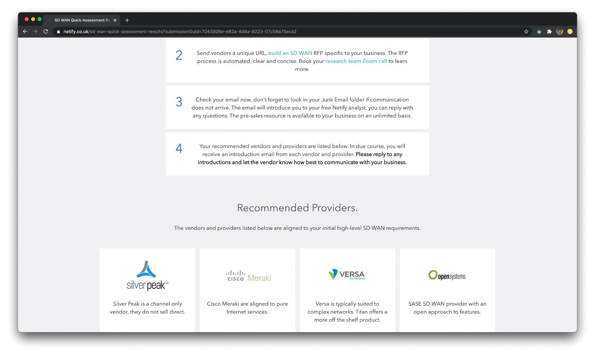 SD WAN Providers - Score my providers
