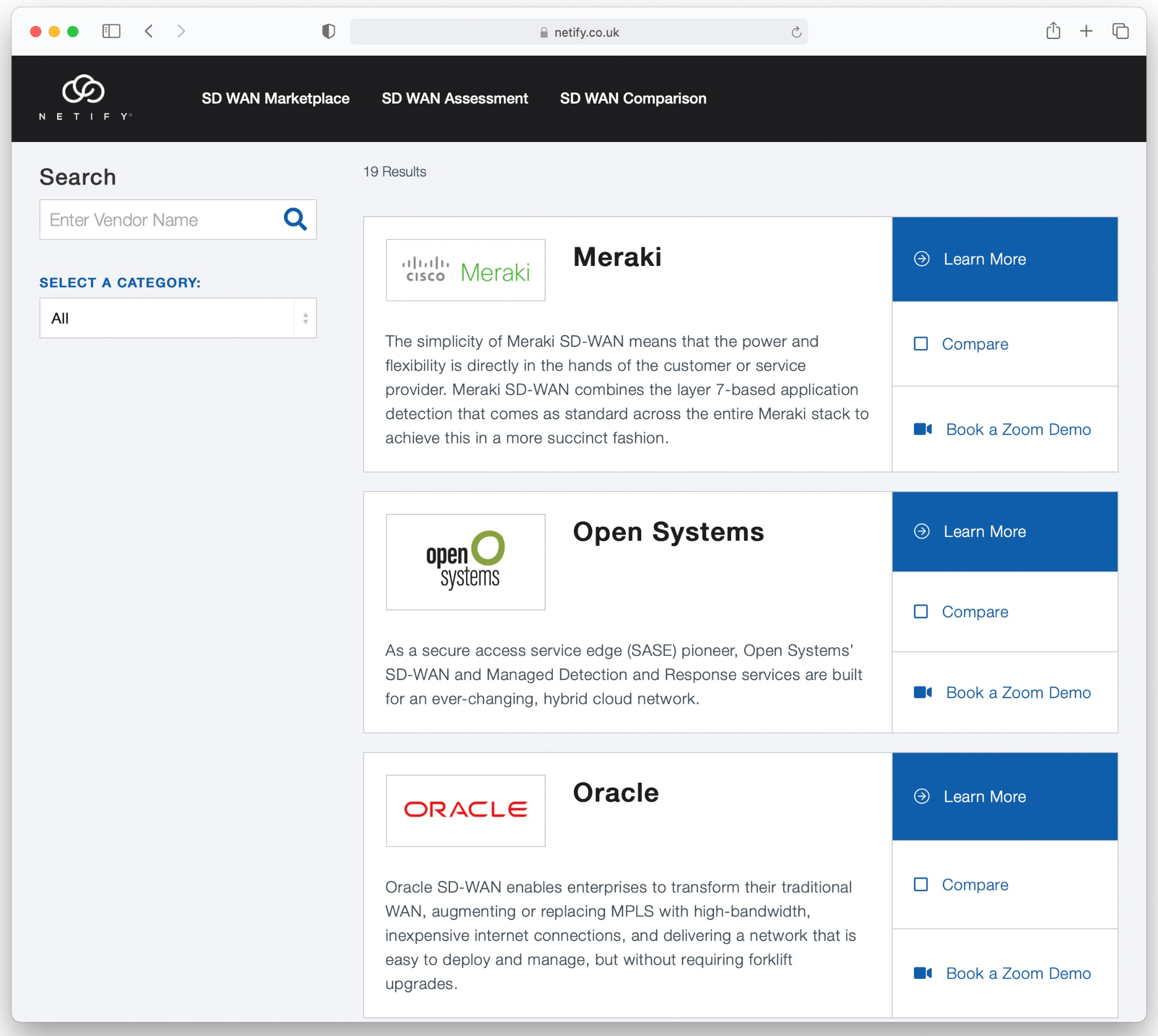 The Netify SD WAN and SASE Marketplace